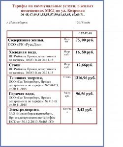 тарифы с 01.07.16