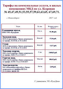 ТАРИФЫ МКД 2017